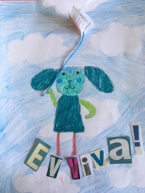 EVVIVA, 2020, collage, matita su carta, foglio A4.